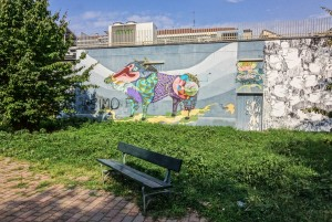 Rojo Roma, murale senza titolo, 2012, giardino via Passo Buole