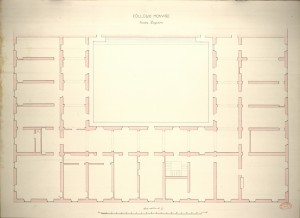 Collegio Monviso. Pianta superiore, 1865