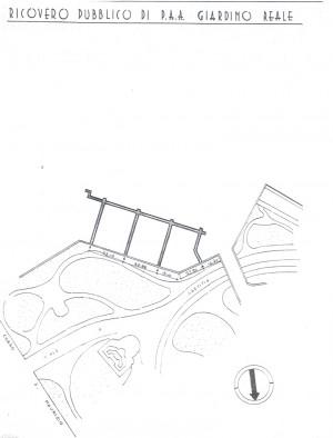 Planimetria del ricovero pubblico Giardino Reale, scala 1:1500. ASCT, Miscellanea sicurezza pubblica 58. © Archivio Storico della Città di Torino