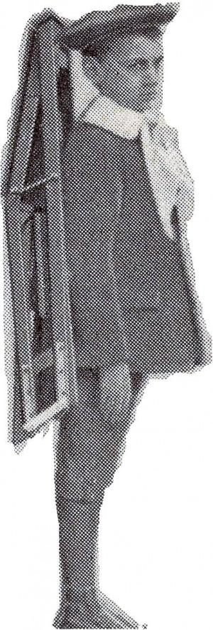 Esempio di banco zaino, trasportabile a spalla, per le lezioni all'aperto. © Archivio Fondazione Tancredi di Barolo