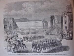 Sfilata delle truppe e della guardia nazionale davanti a Vittorio Emanuele II in piazza Castello. Litografia da