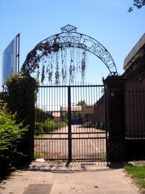 Cancello Corso Professionale Agricolo Le Nuove sull'angolo nord-est. Fotografia di Silvia Bertelli