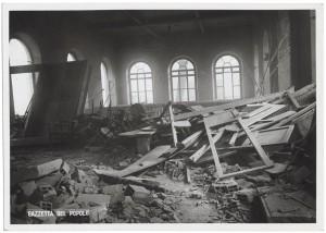 Regia Università, Facoltà di Magistero, Via della Cittadella 3. Effetti prodotti dai bombardamenti dell'incursione aerea del 9 dicembre 1942. UPA 3023_9D02-47. © Archivio Storico della Città di Torino
