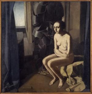 Felice Casorati (1883-1963), La donna e l'armatura, 1921, tempera su tela, cm 144x148. Torino, GAM Galleria d'Arte Moderna (inv. FD/106)