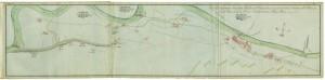 """Tipo Dimostrante il Corso della Bealera del Martinetto (1771). Accanto alle numerose """"cassine"""" sparse nel territorio e che si avvalgono del canale per l'irrigazione, lungo il canale sono presenti numerosi insediamenti protoindustriali."""