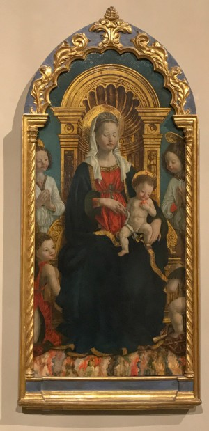 Giovanni Martino Spanzotti (1455-1426/28), Madonna in trono col Bambino e quattro angeli, 1475/1480, tempera su tavola (inv. 603, 0476/D). Torino, Museo Civico d' Arte Antica e Palazzo Madama