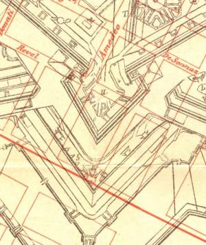 Localizzazione dei resti del bastione S. Lazzaro sulla pianta della città del 1910, da MAGNI 1913 (particolare).