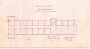 Il Capo Sezione / Eugenio Bella, Pianta del Piano Terreno / della / Nuova Caserma per Fanteria nell'ex Cittadella, Torino, 21 Agosto 1885.