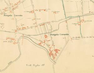 Planimetria di borgata Ceronda nel 1892, particolare. © Archivio Storico della Città di Torino