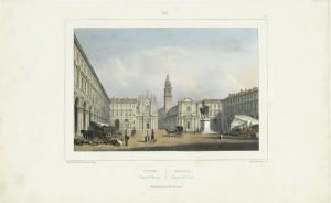 Piazza San Carlo. Cromolitografia di B. Lemercier. © Archivio Storico della Città di Torino