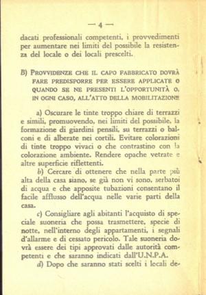 Unione Nazionale Protezione Antiaerea. Norme per il capo fabbricato, pagina 4 di 8. ASCT, Miscellanea sicurezza pubblica 58. © Archivio Storico della Città di Torino