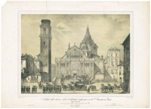 Duomo di San Giovanni riceve le spoglie di Carlo Alberto il 19 ottobre 1849, litografia Iunk da disegno di G. Bonatti, 1849. Archivio Storico della Città di Torino