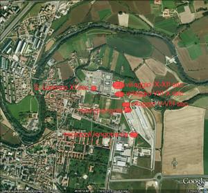 Localizzazione dei siti archeologici su veduta aerea (Google maps 2009).