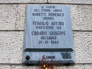 Lapide dedicata a Cibrario Giuseppe, Moretti Domenico, Fenoglio Arturo