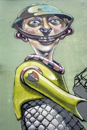 Associazione Artefatti,  senza titolo, dettaglio del murale 2006, piazza Pollarolo. Fotografia di Roberto Cortese, 2017 © Archivio Storico della Città di Torino
