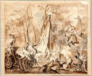Bernardino Galliari (1707-1794), Bozzetto per lo studio preparatorio del sipario del Teatro Regio, 1756, in uso dal 1756 al 1869, disegno, penna e acquerello su carta, cm 39,3x46,5. Torino, Archivi Teatro Regio