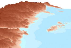 """Modello digitale DTM del Piemonte con evidenza del sistema Collina di Torino e Monferrato al centro del """"golfo padano"""" (2).  Dipartimento di Scienze della Terra, Università di Torino."""