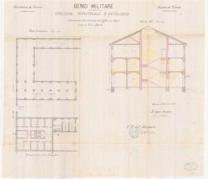 Sistemazione del comando ad uffici, pianta e sezione, 1882.ASCT, Progetti edilizi. © Archivio Storico della Città