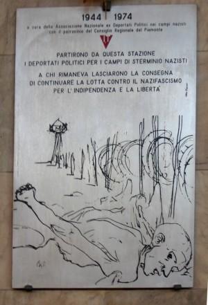 Targa commemorativa presso la stazione ferroviaria di Porta Nuova. © MuseoTorino