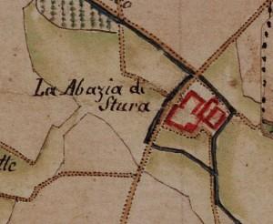 Abbadia di Stura. Carta delle Regie Cacce, 1816, ©Archivio di Stato di Torino.