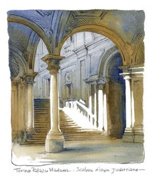 Lorenzo Dotti, Torino, Palazzo Madama. Scalone d'onore juvarriano, 2016, acquerello