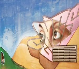 MKE, dettaglio del murale su cabina elettrica, 2009, giardini stazione dei bus. Fotografia di Roberto Cortese, 2017 © Archivio Storico della Città di Torino