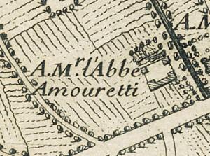 Cascina Amoretti. Gaspard Baillieu, Plan de la Ville et Citadelle de Turin, 1705. © Archivio Storico della Città di Torino