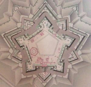 Cittadella di Torino, 1846. Chiodo Agostino, Piano della Cittadella di Torino colla distribuzione interna dei varj Edifizi, particolare. © Biblioteca Reale di Torino