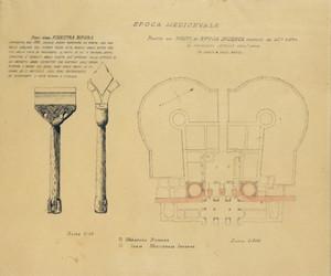 """Il rilievo di D'Andrade della porta con il particolare della bifora del """"castrum vetus"""", Archivio D'Andrade (SBAAP). © SBAAP"""