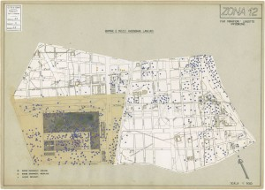 Bombe e mezzi incendiari lanciati 1:5000, 1942-1945. Zona 12: Fiat Mirafiori - Lingotto Ippodromo. ASCT, Tipi e disegni,cart. 68, fasc. 1 disegno 12. © Archivio Storico della Città di Torino