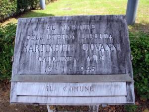 Lapide dedicata a Giovanni Martinetti (1901 - 1945)