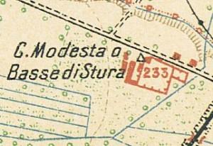 Cascina Bassa di Stura, già La Modesta. Pianta di Torino e dintorni, 1911, © Archivio Storico della Città di Torino