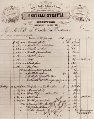 Lista degli acquisti fatti da Cavour nella confetteria Stratta, 4 aprile 1860. © Castello di Santena.