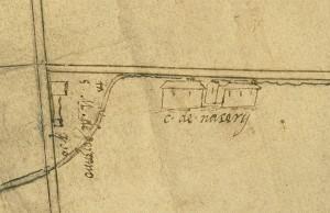 Cascina Grangia Scott. Disegno dei confini tra Torino, Grugliasco e Collegno, 1579-1580. © Archivio Storico della Città di Torino