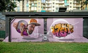 ENCS, murale senza titolo, 2018, giardinetti di via Fattori. Fotografia di Roberto Cortese, 2018 © Archivio Storico della Città di Torino