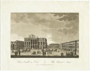 Veduta di piazza Castello, incisione di Stucchi su disegno di Nicolosino. © Archivio Storico della Città di Torino