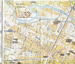 Particolare della pianta della Città di Torino, Seconda metà dell'Ottocento, in cui compare la «Barriera di Valdocco. Riproduzione di Carlo Pigato.