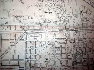 """Localizzazione del """"Rondò della Forca"""", denominato «Circolo di Valdocco», nella Torino di metà Ottocento, CeSRAMP 1865. Pianta della Città di Torino."""