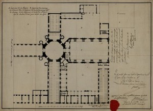 Giuseppe Battista Piacenza, Rilievo del piano terreno del complesso della Cavallerizza, 1803 (Archivio di Stato di Torino, Palazzi reali).
