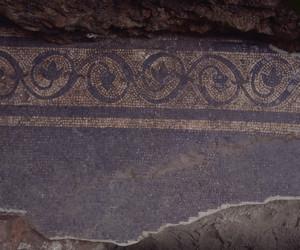 Un particolare del mosaico durante lo scavo, © Soprintendenza per i Beni Archeologici del Piemonte e del Museo Antichità Egizie.