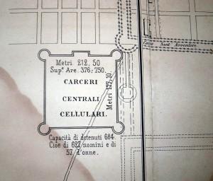 Perimetro delle carceri con particolari delle dimensioni della struttura e delle capacità, 1865.
