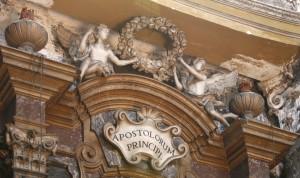 Interno della chiesa di Santa Croce, Particolare dell'altare di San Pietro, a sinistra, fotografia nella tesi di Francesca Romana Gaja, 2011-2012