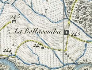 Cascina Bellacomba. Antonio Rabbini, Topografia della Città e Territorio di Torino, 1840. © Archivio Storico della Città di Torino
