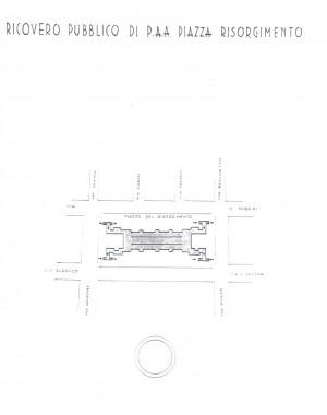 Planimetria del ricovero pubblico Piazza Risorgimento, scala 1:1500. ASCT, Miscellanea sicurezza pubblica 58. © Archivio Storico della Città di Torino