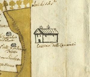 Cascina La Grangia, già Lagrange. Cristoforo Elia, Pianta di tutta la campagna di Miraflores, 1632. © Archivio Storico della Città di Torino