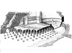 Ricostruzione di un ipocausto, disegno di Francesco Corni