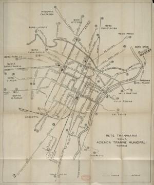Rete tranviaria della Azienda Tranvie Municipali Torino, 1920 circa. Biblioteca civica centrale, Cartografico  3/4.2.01© Biblioteche civiche torinesi