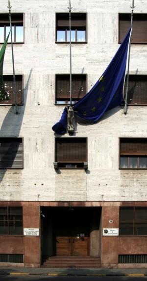 Scuola di Applicazione e Istituto di Studi Militari, Palazzo Gastone Simoni, ingresso da corso Matteotti 18. Fotografia di Caterina Franchini