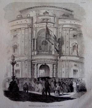 Palazzo Carignano sede della Camera dei Deputati. Litografia da