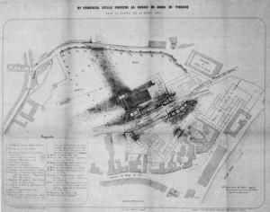 Danni causati dall'esplosione del magazzino delle polveri il 26 aprile 1852 (Ferrero della Marmora, 1852).